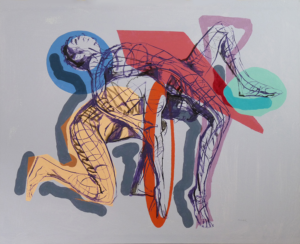 """Fight Scene Cubist Ballet"" 24 x 32  acrylic on canvas"