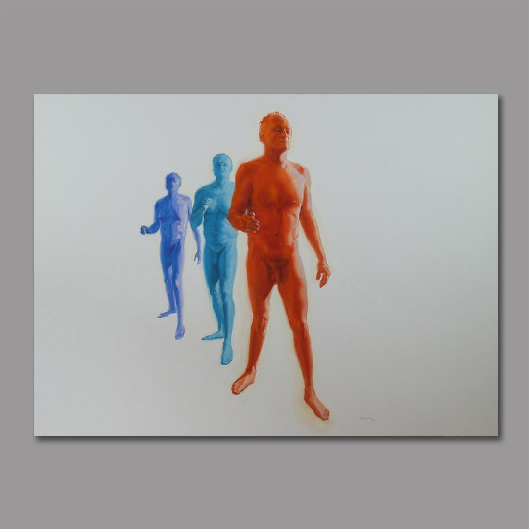 """Three Walking Men"" 30 x 40 acrylic on canvas"