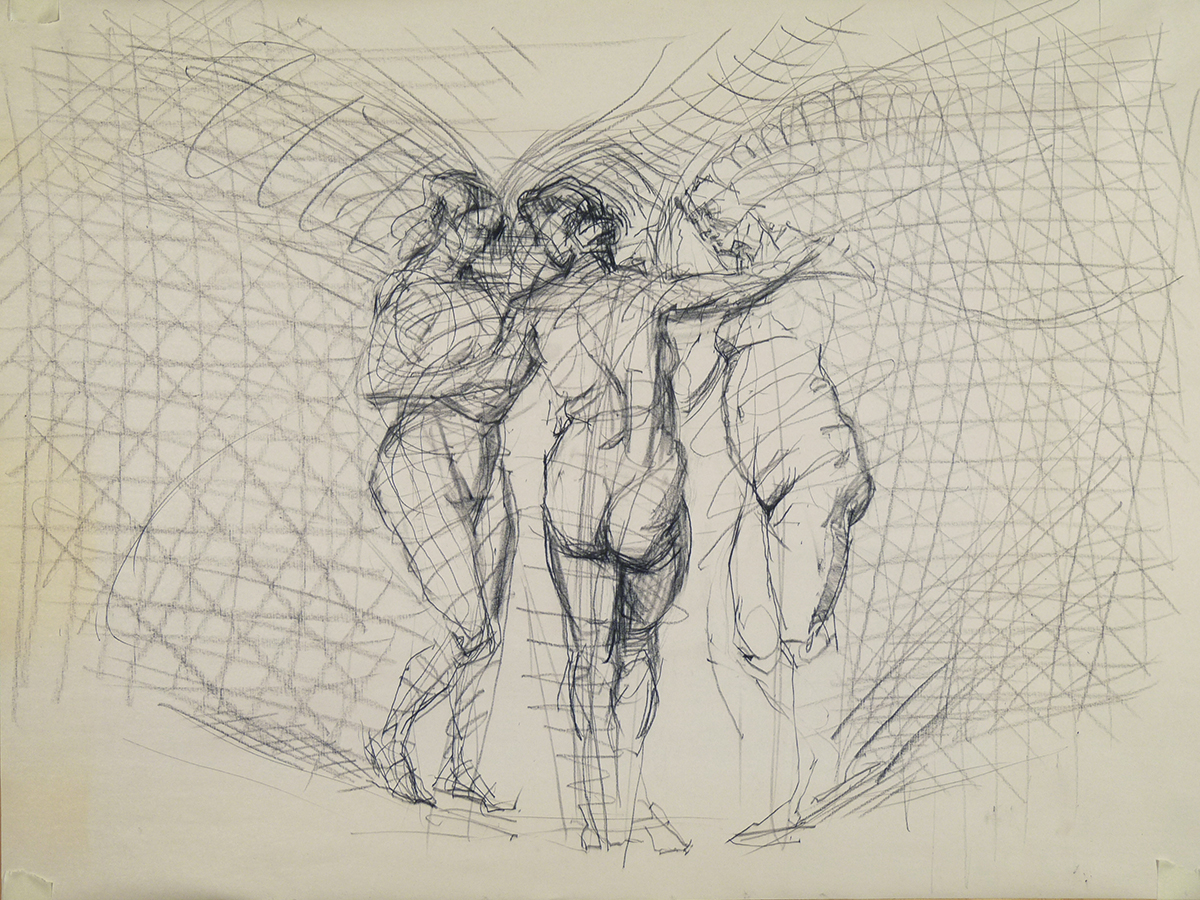 """""""z 10""""  18"""" x 24"""" Three Graces in Space, charcoal on paper"""
