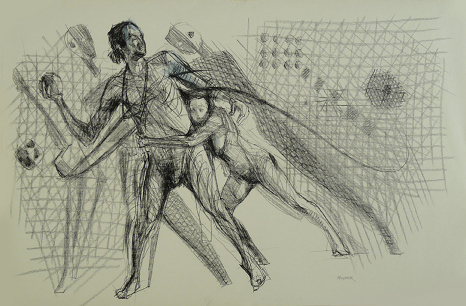 """""""z 11""""  23"""" x 35"""" charcoal on paper"""